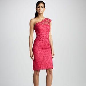 David Meister One-Shoulder Lace Cocktail Dress 6